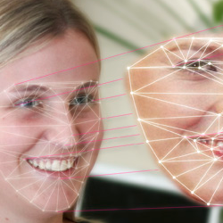 An image depicting a face with facial marking overlaid and projected into a computer representation of that face