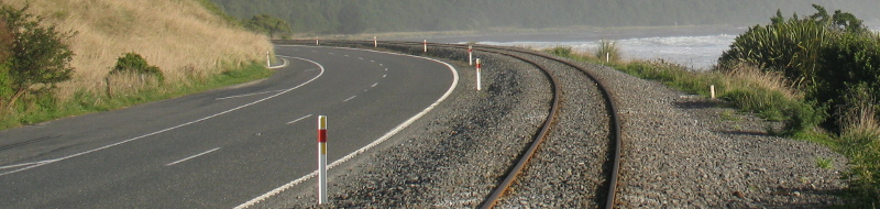 A photograph of a road and rail line Between Hapuku and Mangamaunu, South Island, New Zealand