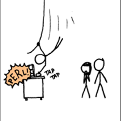 Our hero programmer saves the day by typing a PERL regular expression on a keyboard whilst swinging past on a vine in a Tarzan like fashion. From the webcomic xkcd: http://xkcd.com/208/